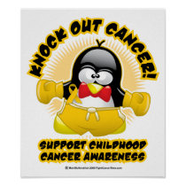 Boxing Penguin Childhood Cancer Poster