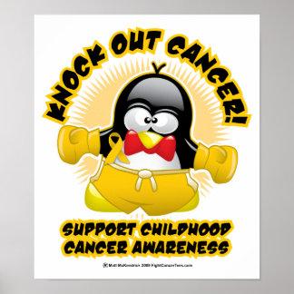 Boxing Penguin Childhood Cancer Poster