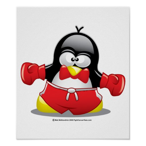 Boxing Penguin Poster