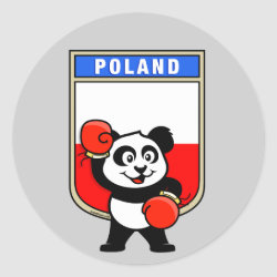 Round Sticker with Polish Boxing Panda design