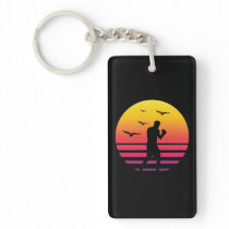 boxing retro sunset, #boxing keychain