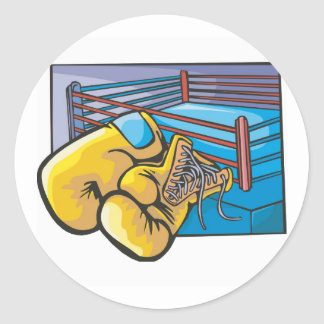 Boxing Ring and Gloves Classic Round Sticker