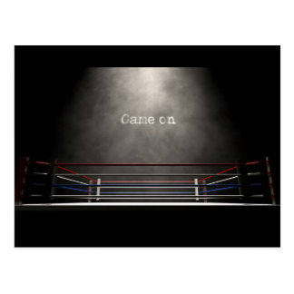 Boxing Ring Spotlit Game On Postcard