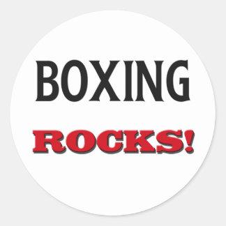 Boxing Rocks Round Stickers