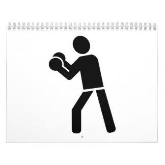 Boxing sports logo calendar