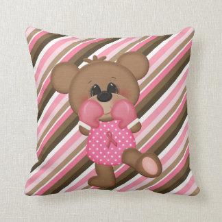 Boxing Teddy Bear Breast Cancer Awareness Pillow