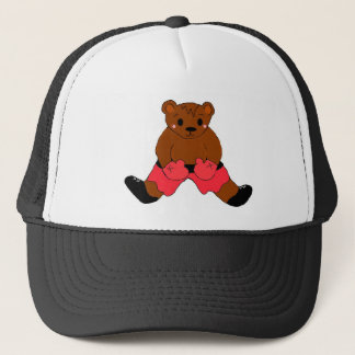 Boxing Teddybear in Red Trucker Hat