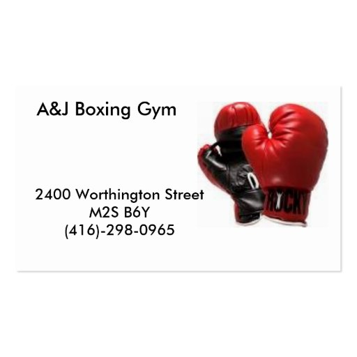 boxinggloves, A&J Boxing Gym, 2400 Worthington ... Business Card Template