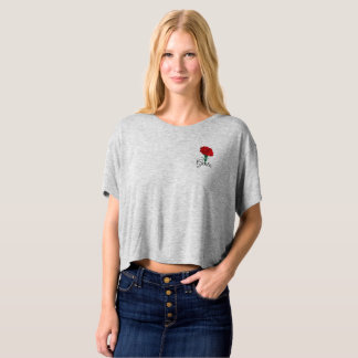 """Boxy crop top. Red Carnation. """"Free"""" in Italian T-shirt"""