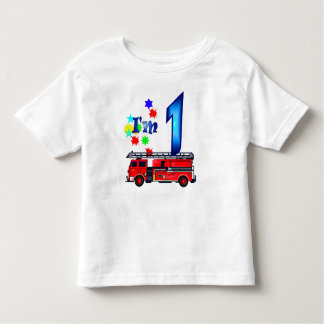 Boy 1st birthday fire engine toddler t-shirt