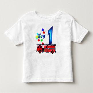 Boy 1st birthday fire engine shirts