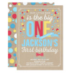 Boy 1st Birthday Invite Blue Red Yellow Invite
