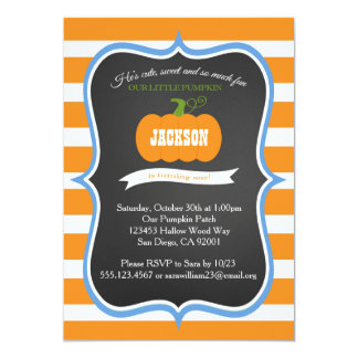"Boy 1st Birthday Pumpkin Fall Party Invitation 5"" X 7"" Invitation Card"