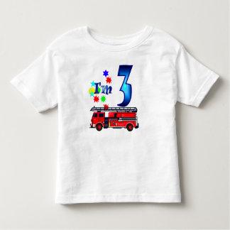 Boy 3rd birthday fire engine tshirt
