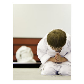 Boy (4-5 years) wearing karate outfit bowing, postcards