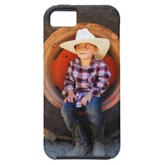 Boy (4-7) yrs old, sitting in tractor tire. iPhone SE/5/5s case