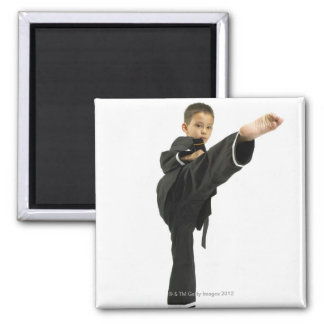 Boy (6-8) in karate outfit kicking magnet