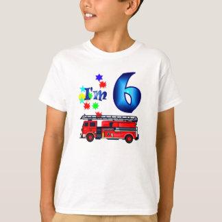 Boy 6th birthday fire engine T-Shirt