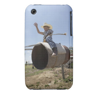 Boy (8-10) riding makeshift rodeo bull iPhone 3 Case-Mate case