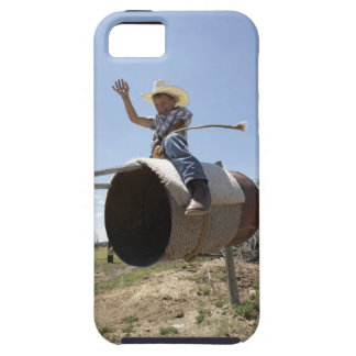 Boy (8-10) riding makeshift rodeo bull iPhone SE/5/5s case