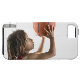 Boy aiming a shot with a basketball in a school iPhone SE/5/5s case