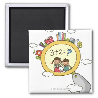 Boy and a girl with a dog standing on a clock 2 inch square magnet