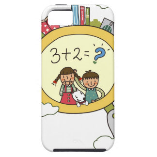 Boy and a girl with a dog standing on a clock iPhone SE/5/5s case