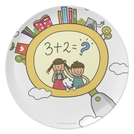 Boy and a girl with a dog standing on a clock plate