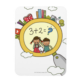 Boy and a girl with a dog standing on a clock vinyl magnets