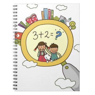 Boy and a girl with a dog standing on a clock spiral notebook