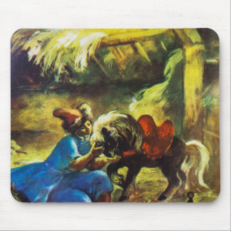 Boy And A Pony In A Shed With Hay Mouse Pad