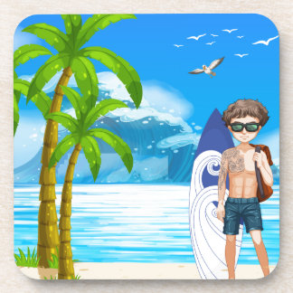 Boy and beach beverage coaster