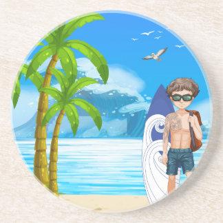 Boy and beach coaster