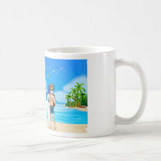 Boy and beach coffee mug