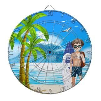 Boy and beach dartboard