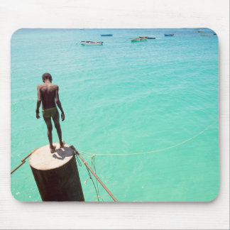 Boy And Blue Water Mouse Pad