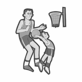 Boy and dad playing basketball acrylic cut out