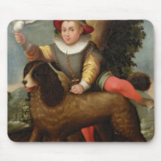 Boy and Dog, `Bibius Vincit' Mouse Pad