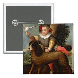 Boy and Dog, `Bibius Vincit' Pinback Button