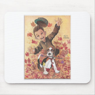 boy and dog in leaves mouse pad