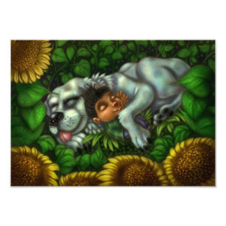 Boy and Dog in Sunflower Field Photo Print