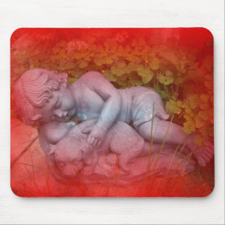 BOY AND DOG MOUSE PAD