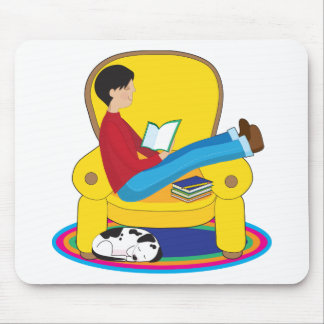 Boy and Dog Reading Mouse Pad