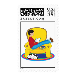 Boy and Dog Reading Stamps