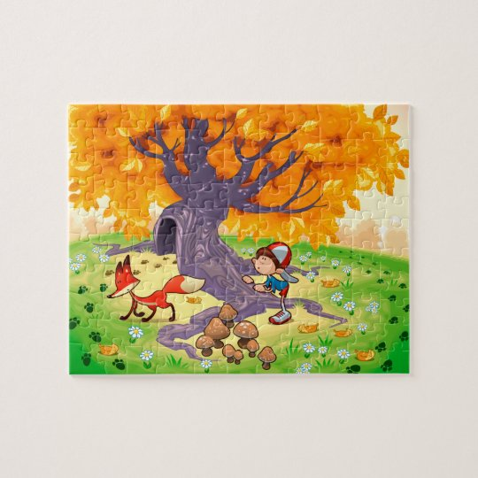 Boy and Fox in the wood. Jigsaw Puzzle