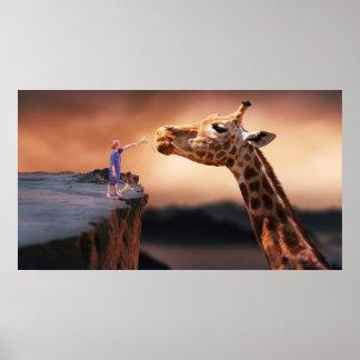 boy and giraffe surreal fantasy art poster