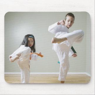 Boy and girl (4-9) practising Taekwondo kicks Mousepad