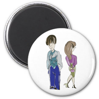 Boy and Girl! Art 2 Inch Round Magnet