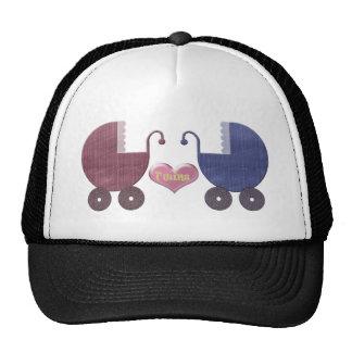Boy and Girl Baby Twins, Pram Art Design Trucker Hats