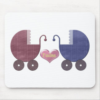 Boy and Girl Baby Twins, Pram Art Design Mouse Pad